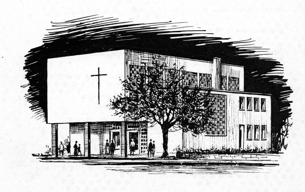 Der erste Pastor im Interview 1962 altes Haus Tusche-Skizze RMahn